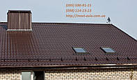 Металлочерепица коричневая цвет 8017, шоколад, цвет коричневый 8017 (RAL 8017), фото 1