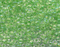 58552 прозрачное стекло, радужное покрытие, светло-зеленый прокрас отверстия