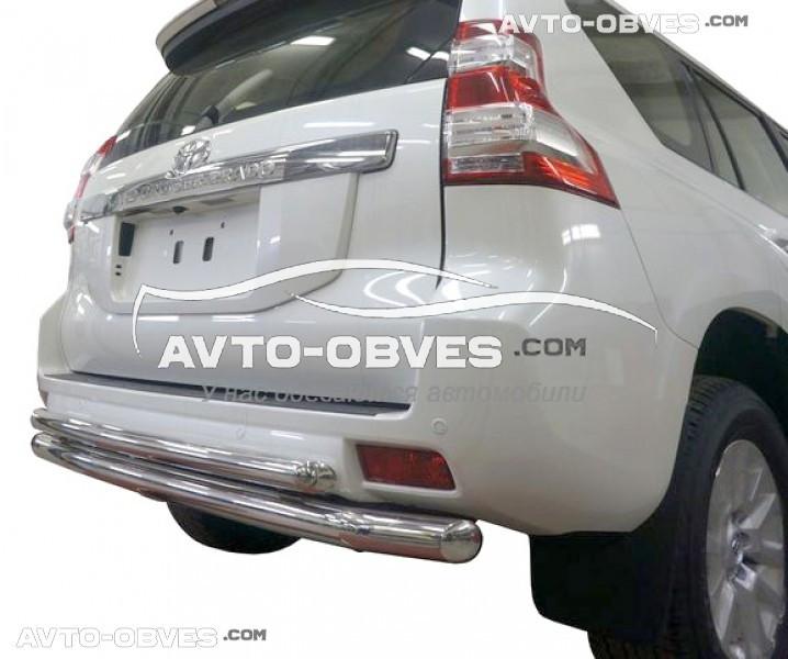 Защита заднего бампера Toyota Prado 150, труба двойная