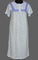 Длинная ночная сорочка женская домашняя (ночнушка) трикотажная хлопковая Украина