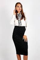 Молодежная юбка - карандаш с высокой талией ТЕМНО-СЕРАЯ, фото 1