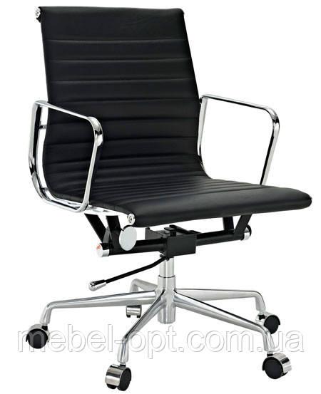 Кресло офисное Алабама М New черный точная копия дизайнерского кресла Ribbed EA 117 от Charles and Ray Eames
