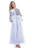 Вышитое белое платье в пол с длинным рукавом