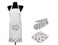 Набор для кухни: фартук, рукавица и прихватка Red rose ТМ Прованс