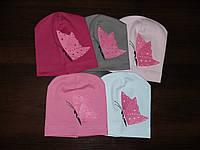 Шапка детская трикотаж 2шт.розовые