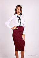Молодежная юбка - карандаш с высокой талией БОРДОВАЯ