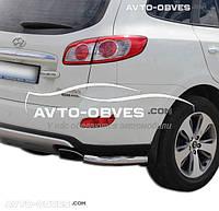 Защита заднего бампера для Hyundai Santa Fe II углы одинарные