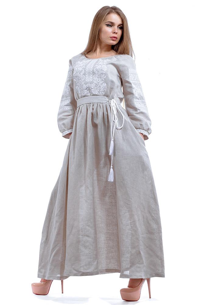 Вышитое серое  платье в пол с длинным рукавом
