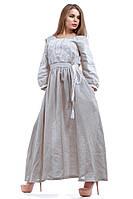 Вышитое серое  платье в пол с длинным рукавом , фото 1