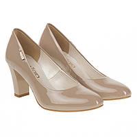 Туфли женские ZanZara (бежевые, классический дизайн, удобные, элегантные, на широком каблуке)
