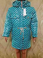 Стильная детская куртка в горошек для девочек на флисе