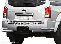 Защита задняя Nissan Pathfinder 2005-2010, углы двойные