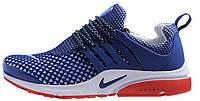Мужские кроссовки Nike Air Presto Flyknit (Найк Аир Престо) синие/красные
