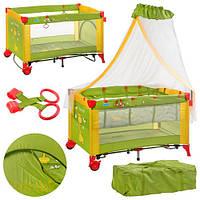 Детская манеж-кровать M 2707 зелено-желтая с балдахином