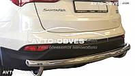 Защита заднего бампера Hyundai Santa Fe 2013-2016, прямой ус