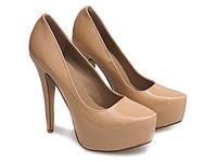 Лаковые женские туфли на шпильке,бежевого цвета размеры 36,39, фото 1