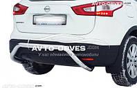 Защита заднего бампера Nissan Qashqai 2014-.., труба П-образная (v2)