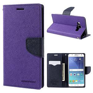 Чехол книжка для Samsung Galaxy J5 2016 J510 боковой с отсеком для визиток, Mercury GOOSPERY Фиолетовый