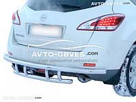 Защита задняя для Nissan Murano 2009-2014, труба одинарная с клыками