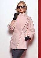 Женское пальто из эко-шерсти пудрового цвета на пуговицах. Модель 380.
