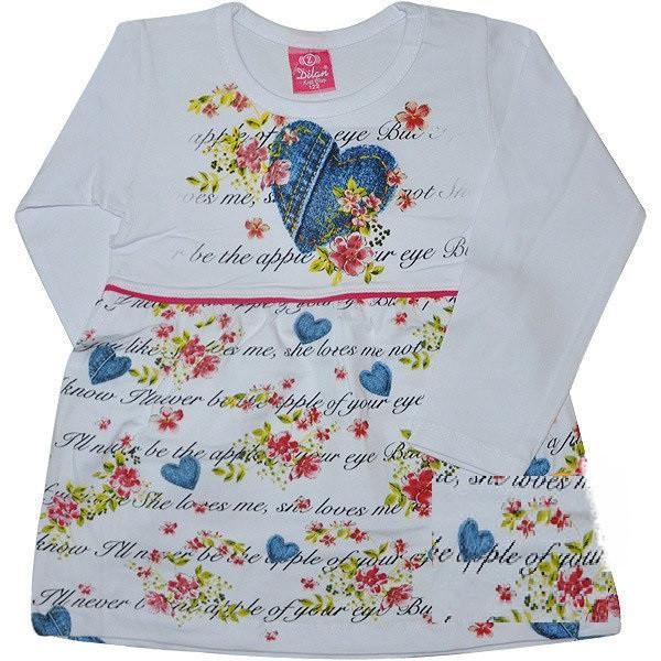 Трикотажное платье на девочку Сердце белый (74 см)