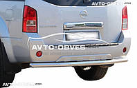 Защита заднего бампера Nissan Pathfinder 2010-2014, прямой ус