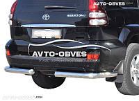 Защита заднего бампера для Toyota Prado 120, углы одинарные
