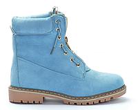 Модные женские ботинки синего цвета