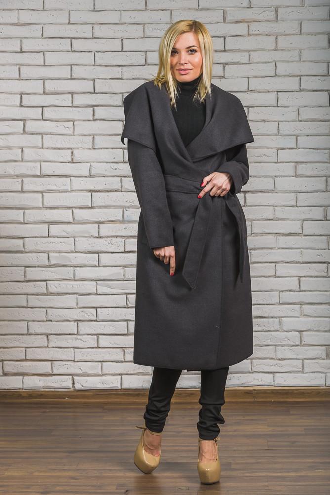 Пальто женское длинное кашемировое темно-серое