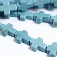 Бусины Синтетическая Бирюза крест 10х8х3мм, Бирюзовый, 38шт/нить, (УТ0030777)