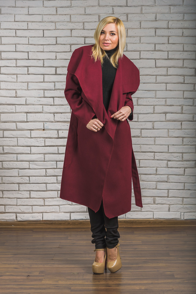 Пальто женское длинное кашемировое бордо