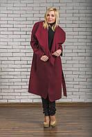 Пальто женское длинное кашемировое бордо, фото 1