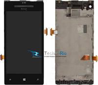 Модуль Дисплей HTC C620e Windows Phone 8X с тачскрином и передней панелью, чёрный