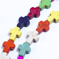 Бусины Синтетическая Бирюза крест 10х8х3мм, Микс,  38шт/нить, УТ0030698