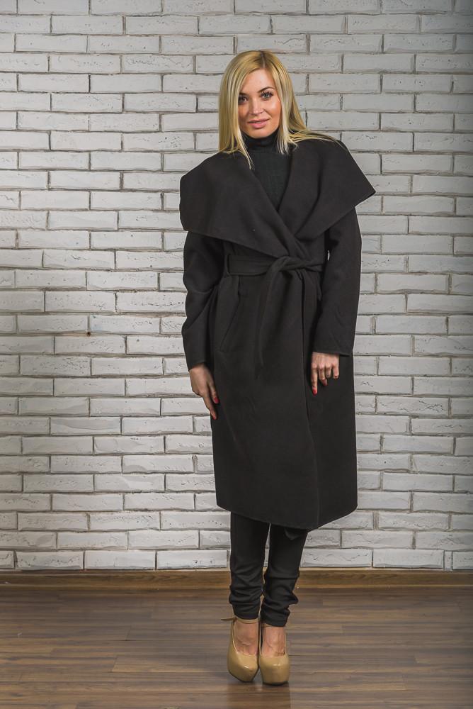 Пальто женское длинное кашемировое черное