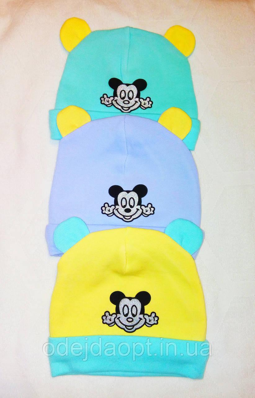 Детская теплая шапка с Микки Маусом