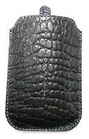 К-220 Кейс TRINITY,  IPhone 4/4s (м.1508-В) хлястик кожа ЧОРНИЙ крокодил