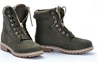 Женские ботинки зеленого цвета