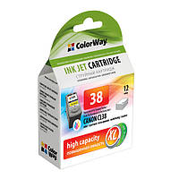 Картридж Canon CL-38, Color, iP1800/1900/2500/2600, MP140/190/210/220/470, MX300/310, 12 ml, ColorWay, Ink Level