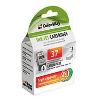 Картридж Canon PG-37, Black, iP1800/1900/2500/2600, MP140/190/210/220/470, MX300/310, 12 ml, ColorWay
