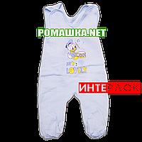 Ползунки высокие с застежкой на плечах р. 56 демисезонные ткань ИНТЕРЛОК 100% хлопок ТМ Алекс 3143 Голубой2