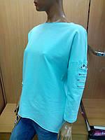 Кофта женская с разрезами и кружевом,цвет мята