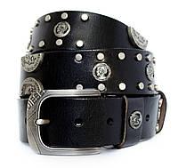 Мужской кожаный кежуал ремень Diesel с заклепками под джинсы или  брюки  в черном цвете (11218)