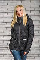 Женская стеганная куртка на синтепоне черная, фото 1