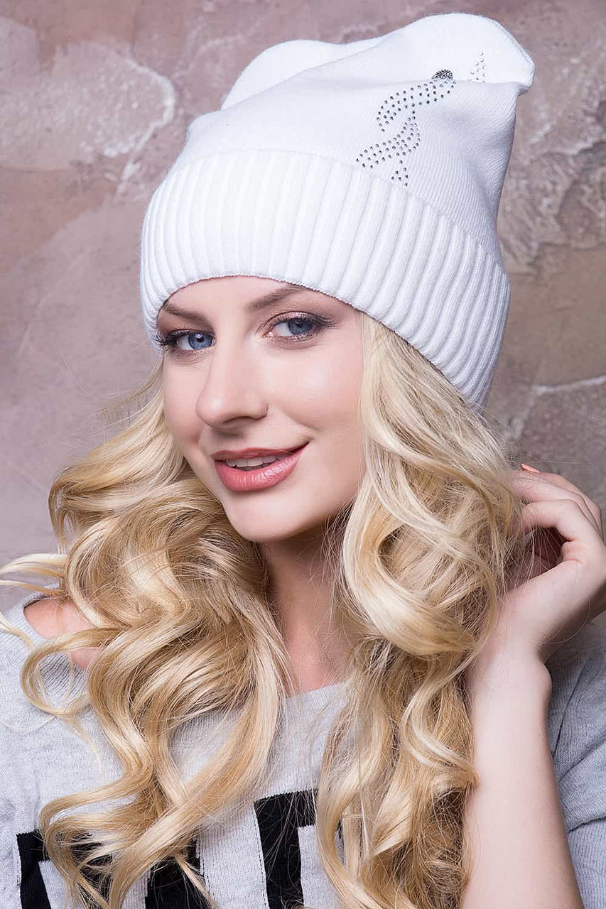 Женская шапка ушки «Селена» Без Помпона, Флис, Ушки, Белый