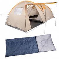 Палатка туристическая КЕМПИНГ Tougether 4PE CMG/G-2047 + спальный мешок Scout CMG/B-1967 (4 шт)