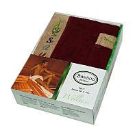 Набор для сауны мужской, 2 предмета Gursan Bamboo бордовый