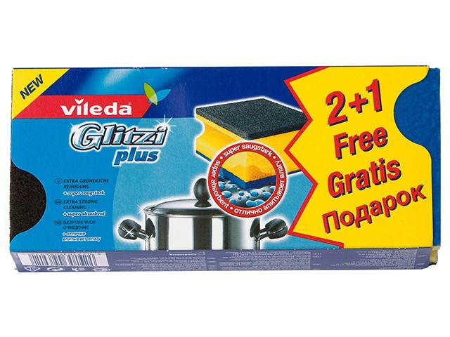 Губки для сильно забрудненого посуду і каструль Glitzi plus, Vileda, 2+1 шт.