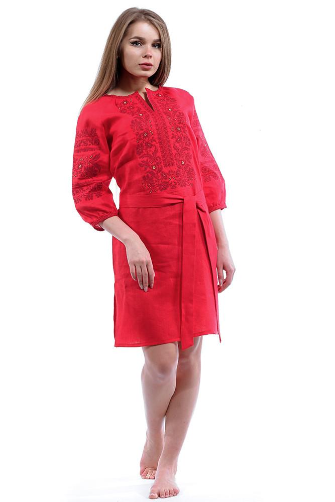 """Вышитое красное платье до колен """"Сокальский узор"""""""