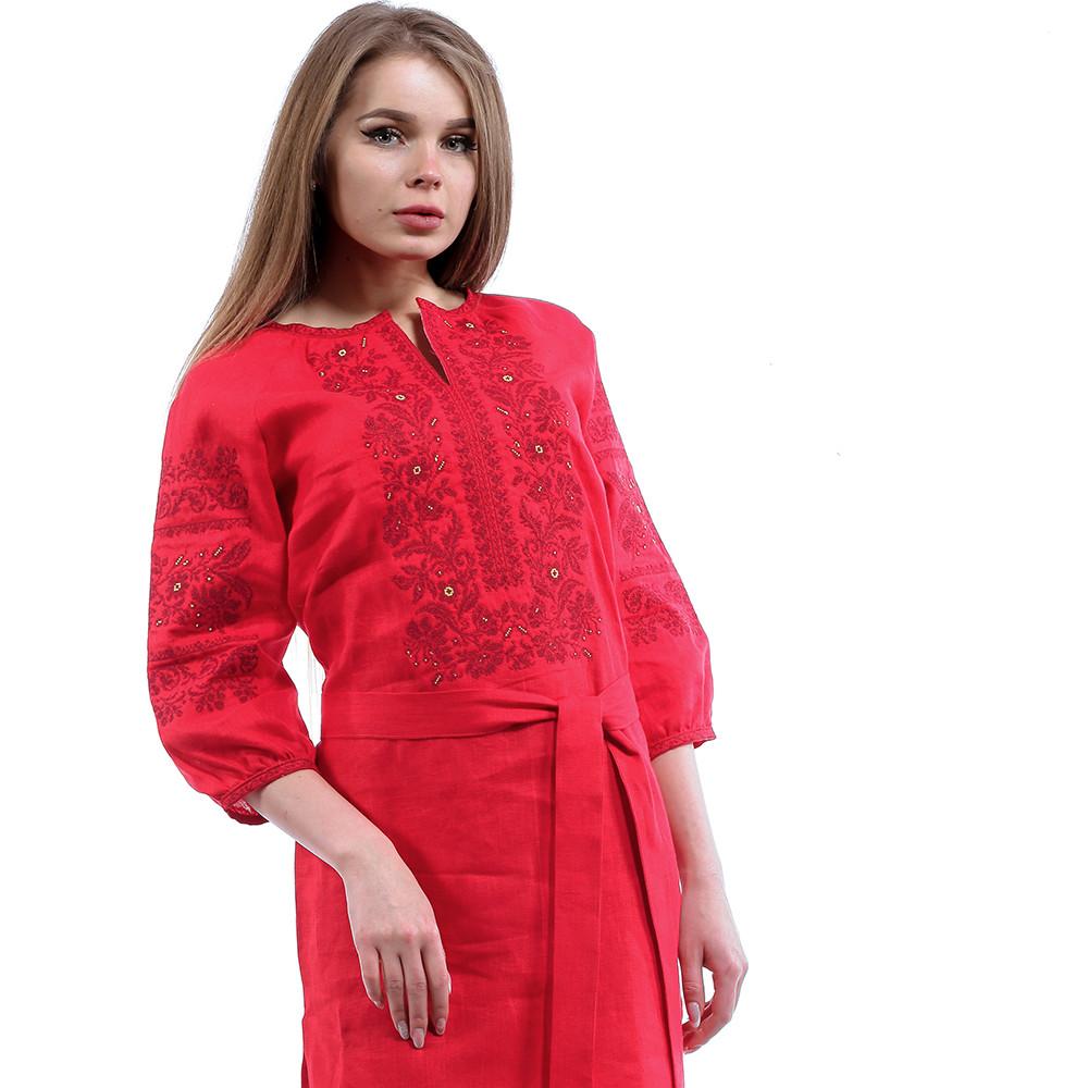 Купить Вышитое красное платье до колен
